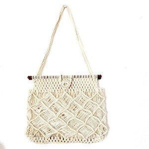 Vintage Boho Tan Macrame Shoulder Hobo Handbag